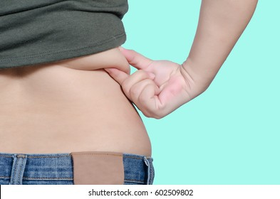Closeup womans lower back with shirt lifted up, wearing jeans, holding hands on hips, weightloss concept