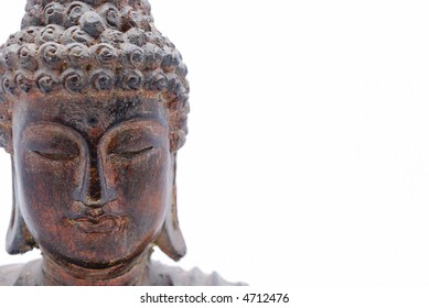 Closeup of  wood Buddha statue