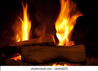Close-up of wood burning in flames.