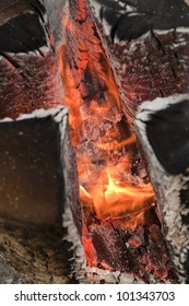 close-up of wood fire