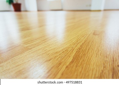 Close-up of a wood laminate floor in a new house