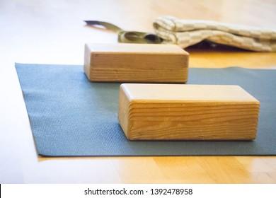 Closeup of wooden blocks yoga equipment in studio