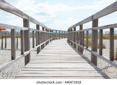 closeup wooden bridge