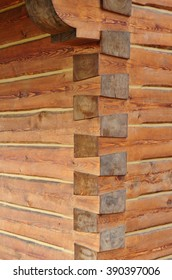 Closeup of a wooden cabin construction