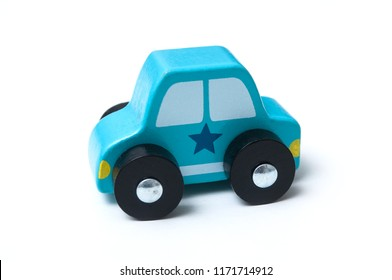 closeup of wooden car, wooden toy on white background