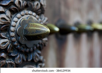 Closeup of a wooden carved door in Stone Town old town Zanzibar, Tanzania