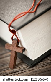 Closeup of wooden Christian cross necklace