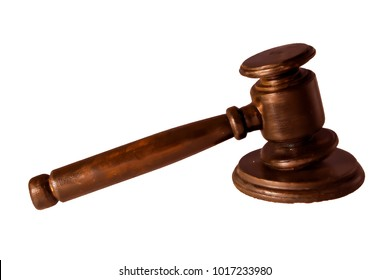 Close-Up Of Wooden Hammer And Gavel On  White Background