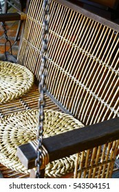 Close-up wooden oriental hanging chair