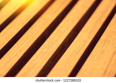 close-up of wooden slats diagonally, wooden lath texture background