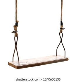 Closeup of wooden swing isolated on white background with clipping path