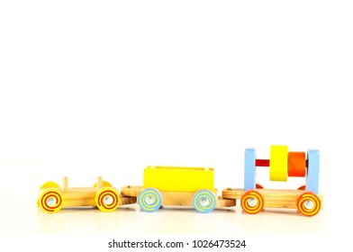 Close-up of wooden toy train Object on a White Background