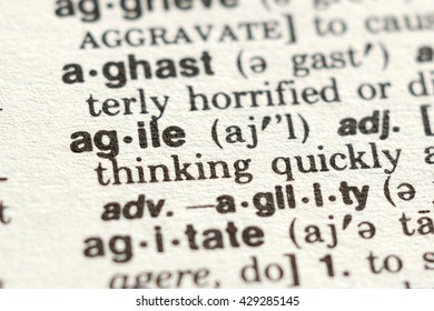 Close-up of The Word Agile in a Dictionary