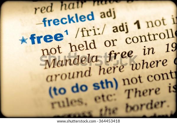 Closeup Word English Dictionary Free Definition Stock Photo
