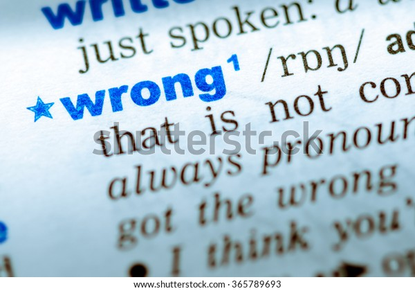 Closeup Word English Dictionary Wrong Definition Stock Photo