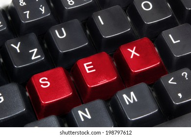 Close-up of word sex on black computer keyboard.