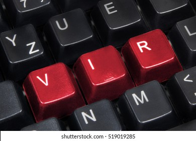 Close-up of word vir on black computer keyboard.