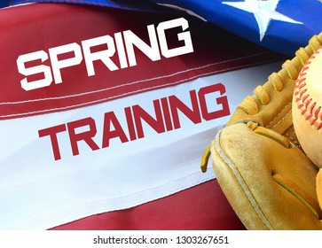 Closeup of worn baseball and mitt on a US flag background, great for America's favorite pasttime. Spring training text added