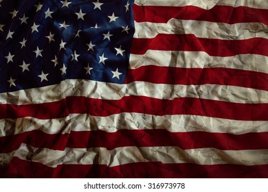Closeup of wrinkled American flag