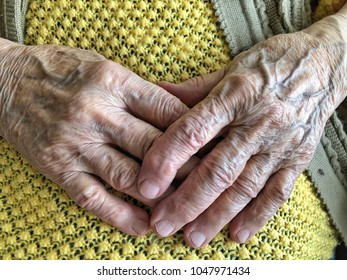 closeup wrinkled hands of a senior person