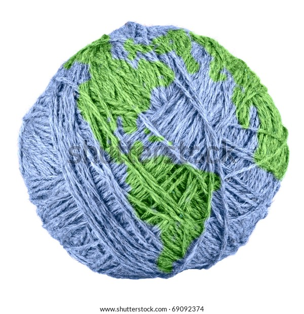 close-up of yarn Earth isolated on white background