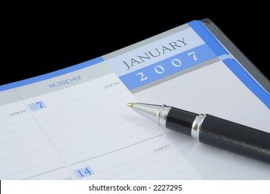 Closeup of year 2007 calendar on black background