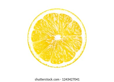 Close-up of a Yellow halved Lemon Fruit isolated on white Background.