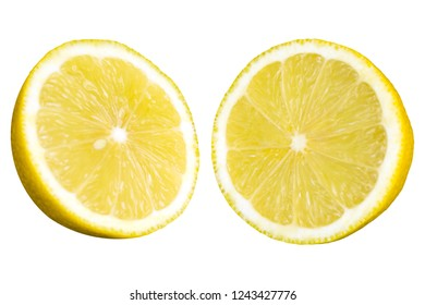 Close-up of a Yellow halved Lemon Fruit isolated on white Background.