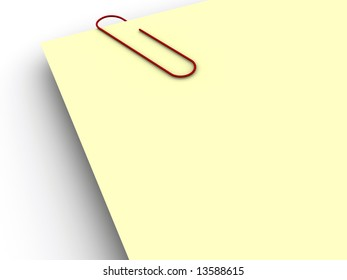 Close-up of yellow note and paper clip - rendered in 3d