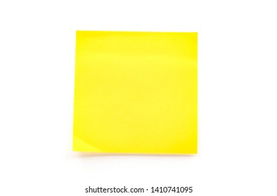 Closeup yellow paper stick note on white background, Yellow paper post it stick note, Empty yellow stick note, Paper card or stick note for add text message