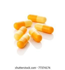 Closeup of yellow pills