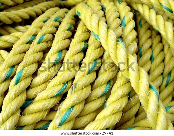 closeup of Yellow rope used by the local fisherman