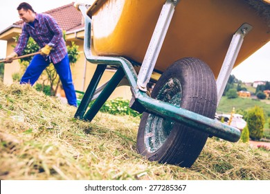 Closeup of yellow wheelbarrow in the field and young man with gloves raking hay on the background