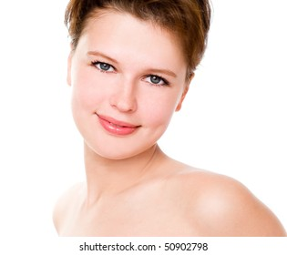 Closeup of a young beautiful woman, isolated on white