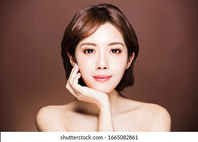 closeup young beauty face with  clean skin
