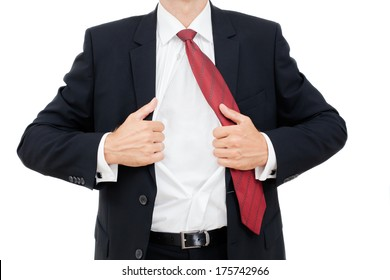 Closeup of a young business man expressing frustration isolated on white background.