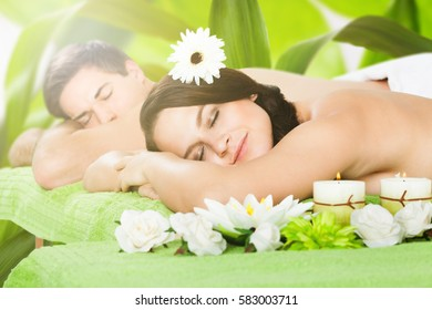 Close-up Of A Young Couple Relaxing In A Beauty Spa