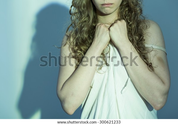 Close-up of young female victim of rape