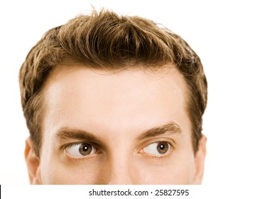 closeup of young handsome caucasian man's face