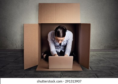 Closeup young introvert businesswoman hiding sitting in the carton box working on laptop computer