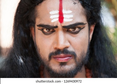 A closeup of young male artist as Ravana shows his anger during the Lord of lanka post photoshoot on December 23rd 2018 at Sai Baba temple in Bengaluru,India