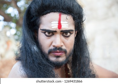 A closeup of a young male artist as Ravana showing hatred during the Lord of lanka post photoshoot on December 23rd 2018 at Sai Baba temple in Bengaluru,India