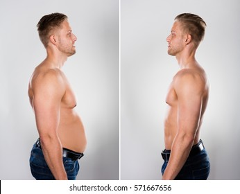 Close-up Of A Young Man Before And After Loosing Fat On Grey Background