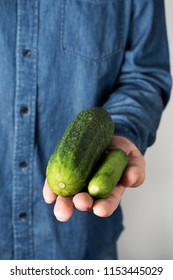 closeup of a young man with a big cucumber next to a smaller one on the palm of his hand