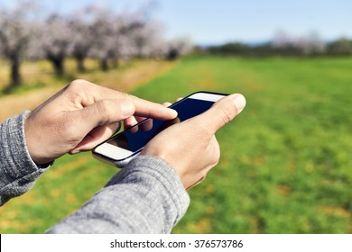 gros plan sur un jeune homme utilisant un smartphone dans un paysage naturel, avec un bosquet d'amandiers en pleine floraison en arrière-plan