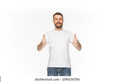 Closeup of young man's body in empty white t-shirt isolated on white background. Clothing, mock up for disign concept with copy space. Advertising concepts. Front view