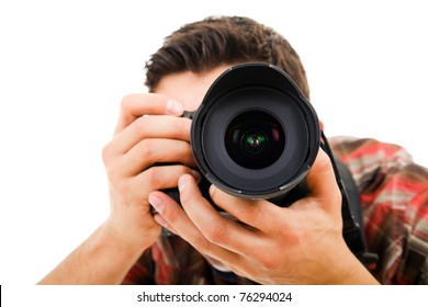 Close-up of Young photographer with camera, isolated on white