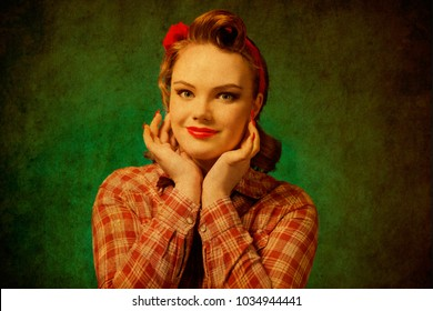 Closeup young pretty pinup girl red button shirt  looking at you camera  teal color background retro vintage 50's style. Human emotions body language