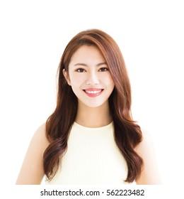 closeup young smiling asian woman