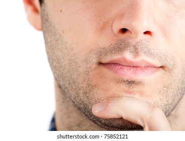Closeup of a young thoughtful man's lips and chin